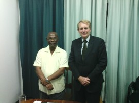 Executive Director of the CARICOM Climate Change Centre Dr. Kenric Leslie and High Commissioner Ross Tysoe, AO