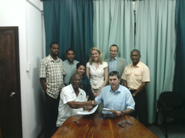(Front L-R) Dr. Kenrick Leslie and Dr. Josef Haider; (Back L-R) Donneil Cain, Keith Nichols, Sharon Lindo, Christina Rumke, Dr. Martin Lux and Dr. Mark Bynoe