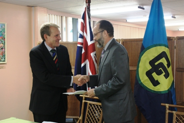 Credit: CARICOM Secretariat.Ambassador Irwin LaRocque (R), CARICOM Secretary-General, accepts the Letters of Credence of His Excellency Ross William Tysoe (L), the Plenipotentiary Representative of Australia to CARICOM. Thursday 4 April, 2013, CARICOM Secretariat Headquarters, Georgetown, Guyana.