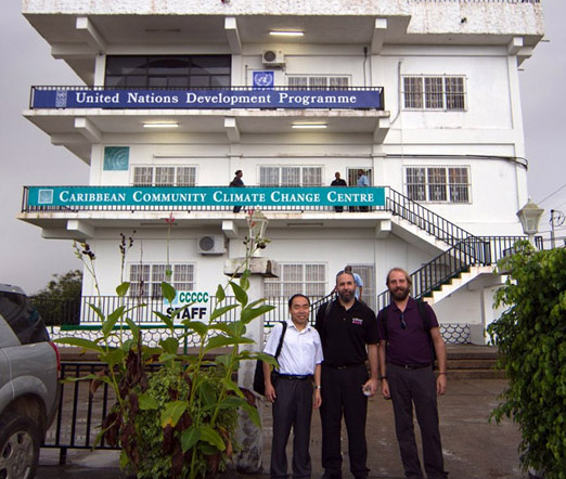 Dr. Jason Polk (centre), along with fellow WKU faculty members Dr. Xingang Fan (left) and Dr. Josh Durkee (right) following a meeting at the Caribbean Community Climate Change Centre in Belmopan, Belize.