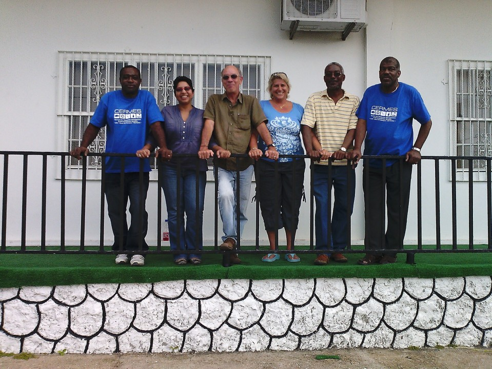 (L-R) John Moody (5Cs), Neetha Selliah (CERMES), Dr. Adrian Cashman (CERMES), Renata Goodridge (CERMES), Dr. Nurse (5Cs and CERMES), and Earl Green (5Cs)