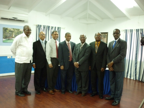 (L-R) Dr. Trotz, Deputy Director, CCCCC; Sylvester Clauzel, Permanent Secretary in the Ministry of Sustainable Development, Energy, Science and Technology, Saint Lucia;  Keith Nichols, Project Development Specialist, CCCCC; Dr. Bynoe, Sr. Environmental  & Resource Economist, CCCCC;  Dr. Fletcher, Minister of the Public Service, Sustainable Development, Energy, Science and Technology, Saint Lucia; and Deputy Prime Minister of Saint Lucia Philip J. Pierre