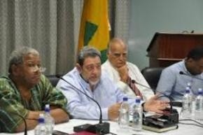 PM Gonsalves flanked by PM Spencer at a high level meeting discussing the devasation in St. Vincent (CMC Photo)