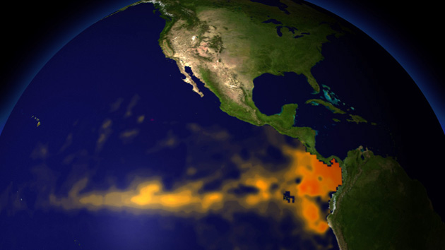 "El Niño, warmer than average waters in the ""Niño3.4"" region of the tropical Pacific Ocean, affects weather around the world. NOAA Visualization Lab"