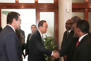 Dr. Trotz greets His Excellency Mr. Ban Ki-Moon Photo Credit: CDB