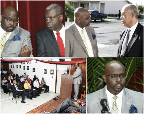 Minister Dorsett seen top left, right and bottom right. (BIS Photos/Derek Smith)