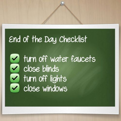 End of Day Checklist