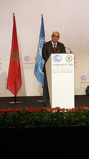 STATEMENT BY HON. OMAR FIGUEROA, MINISTER OF STATE AGRICULTURE, FISHERIES, FORESTRY, THE ENVIRONMENT AND SUSTAINABLE DEVELOPMENT ON THE OCCASION OF THE 22nd CONFERENCE OF THE PARTIES TO THE UNITED NATIONS FRAMEWORK CONVENTION ON CLIMATE CHANGE (UNFCCC COP 22) at THE 12th SESSION OF THE CONFERENCE OF PARTIES SERVING AS THE MEETING OF THE PARTIES TO THE KYOTO PROTOCOL (CMP 12) AND FIRST SESSION OF THE CONFERENCE OF THE PARTIES SERVING AS THE MEETING OF THE PARTIES TO THE PARIS AGREEMENT (CMA1) on 16th NOVEMBER, 2016.